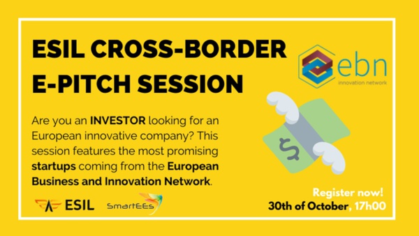 Register to the next ESIL e-pitch session featuring startups selected by EBN and SmartEES, on October 30th at 5:00 PM CEST