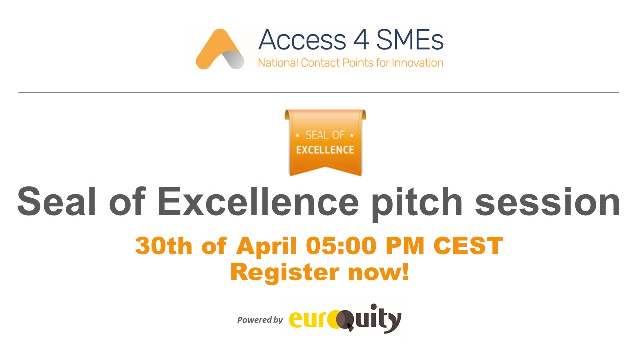 New Seal of Excellence awarded companies pitching next 30th of April at 5:00 PM CEST!