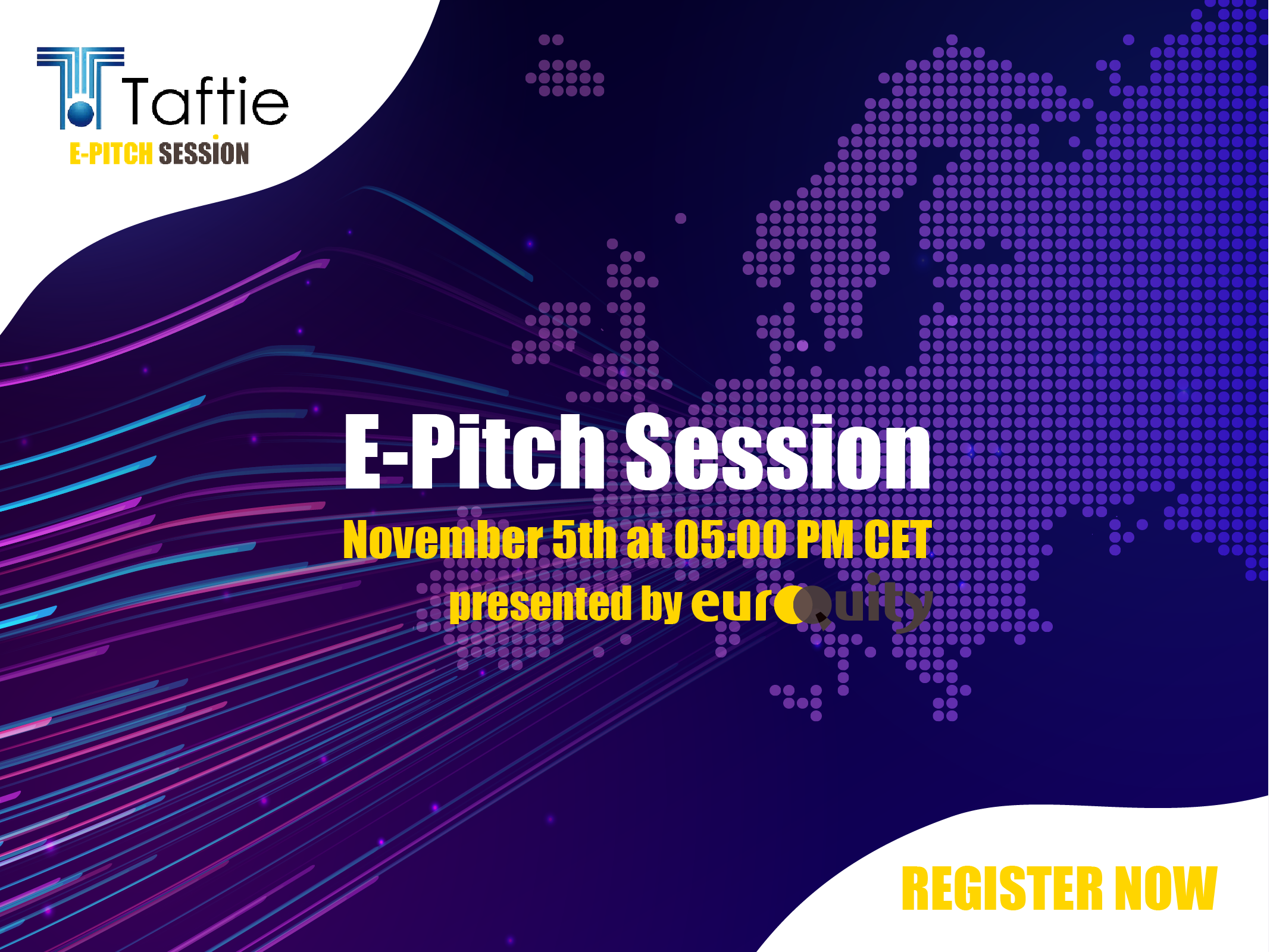 Join the Taftie High Potential E-Pitch session on November 5 at 05:00 PM CET