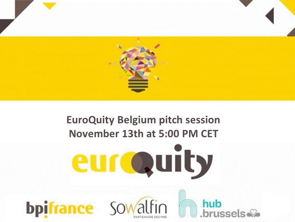 Join the next Belgian E-Pitch session on November 13th at 5:00 PM CET