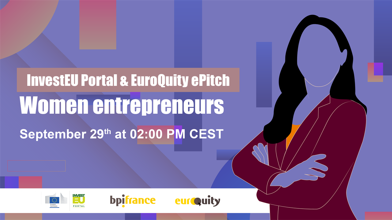 Join the Women Entrepreneurs E-Pitch session on September 29th at 02:00 PM CEST