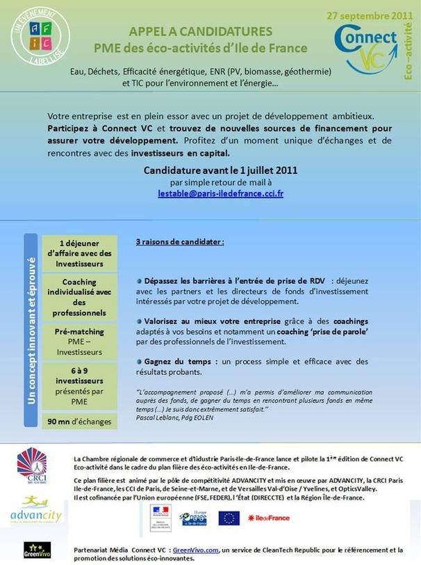 Appel à candidatures : PME des éco-activités d'Ile de France, inscription avant le 1er juillet