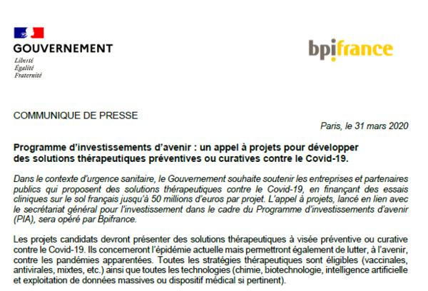 Programme d'investissements d'avenir : un appel à projets pour développer des solutions thérapeutiques préventives ou curatives contre le Covid-19