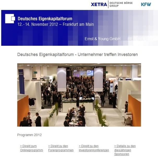 EuroQuity au Eingenkapitalforum de Francfort les 12, 13 et 14 novembre 2012