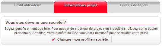 """Porteurs de projets : changez votre profil en """"Société"""""""